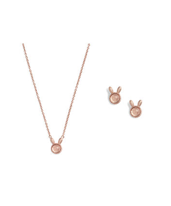 OLIVIA BURTON LONDON Bunny Gift Set Rose Quartz & Rose GoldOBJGSET07 – Necklace in Rose Gold - Front view