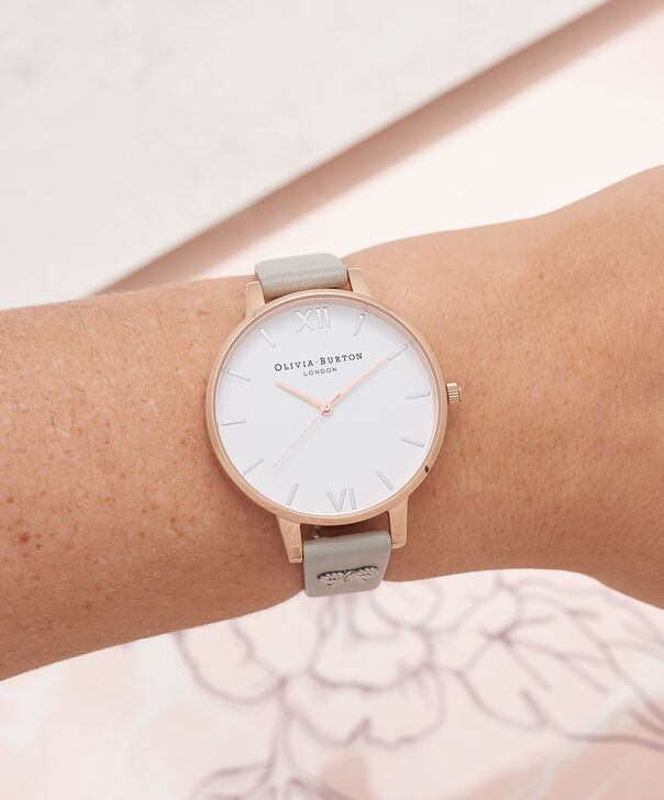 OLIVIA BURTON LONDON  Vintage Bow Stud Grey, Silver & Rose Gold Watch OB16VB06 – Big Dial Round in White and Grey - Other view