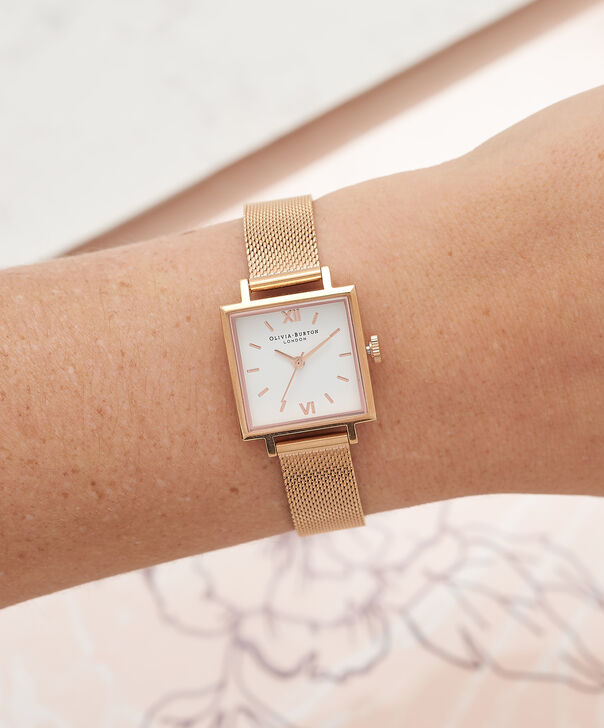 OLIVIA BURTON LONDON  Big Square Dial Rose Gold Mesh Watch OB16SS10 – Big Square in White and Rose Gold - Other view