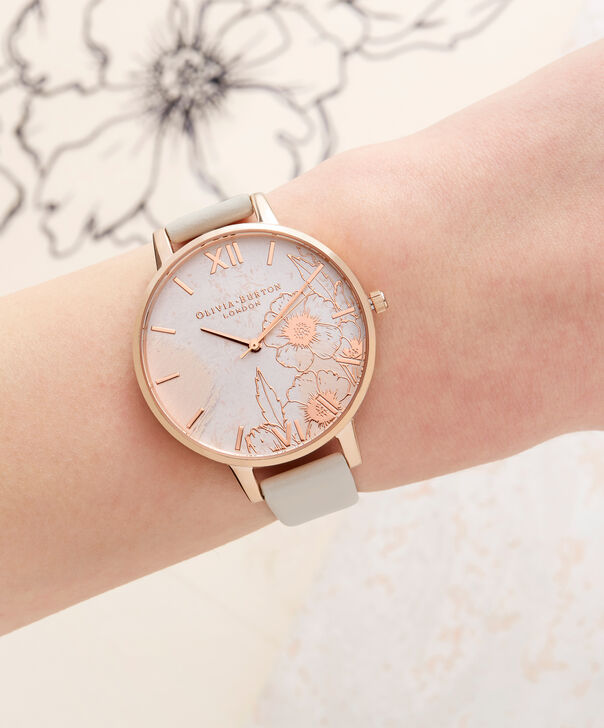 OLIVIA BURTON LONDON  Abstract Florals Vegan Nude & Rose Gold OB16VM25 – Big Dial Round in Nude and Rose Gold - Other view
