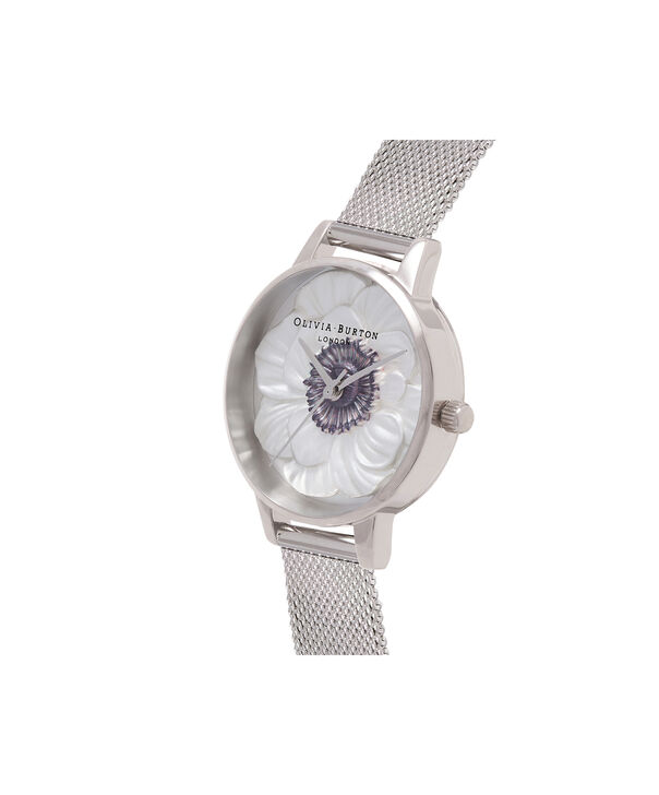OLIVIA BURTON LONDON  3D Anemone Silver Mesh Watch OB16AN01 – Midi Dial Round in White and Silver - Side view