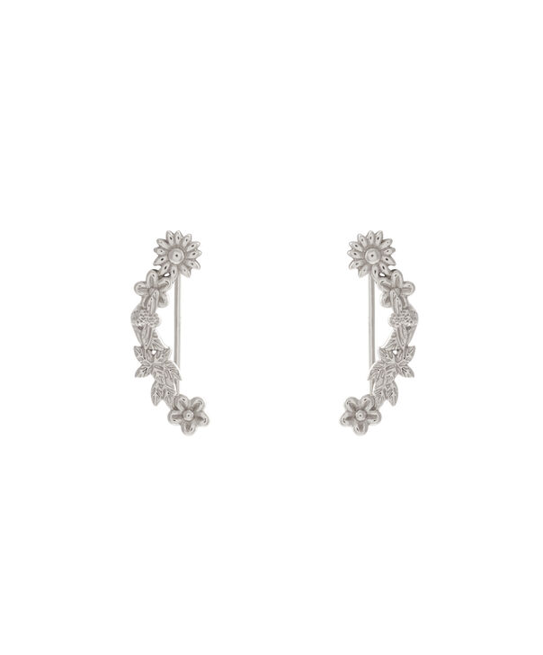 OLIVIA BURTON LONDON  Bee Blooms Crawler Earrings Silver  OBJ16BBE03 – Bee Blooms Crawler Earrings - Front view
