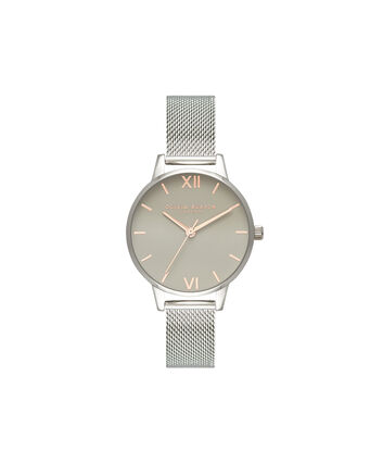 OLIVIA BURTON LONDON Grey Dial Mesh, Rose Gold & SilverOB16MD95 – Midi Dial Round in Rose Gold and Silver - Front view