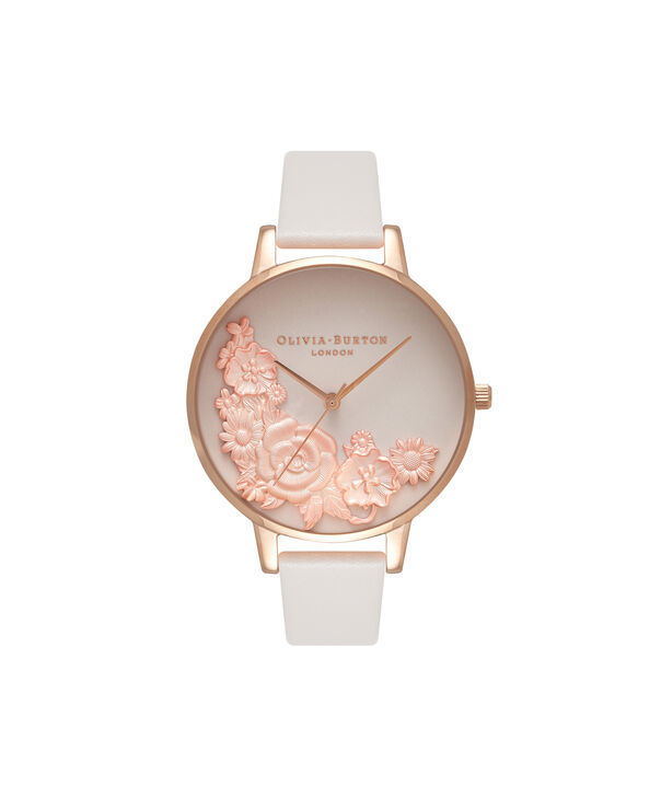 OLIVIA BURTON LONDON  3D Bouquet Blush & Rose Gold Watch OB16FS85 – Big Dial Round in Blush - Front view
