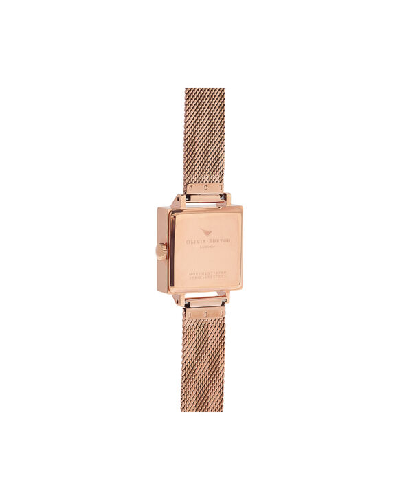 OLIVIA BURTON LONDON Abstract Florals Rose Gold Mesh Watch  OB16VM18 – Midi Dial Square in White Floral and Rose Gold - Back view