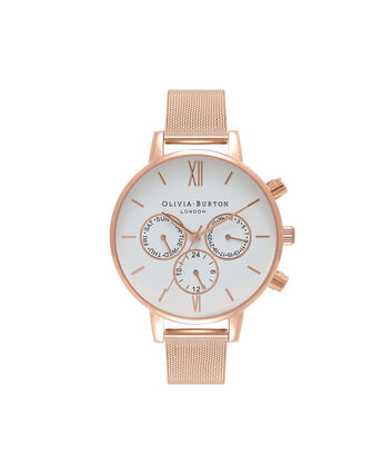 OLIVIA BURTON LONDON  Chrono Detail Rose Gold Watch OB16CG86 – Big Dial in White and Rose Gold - Front view