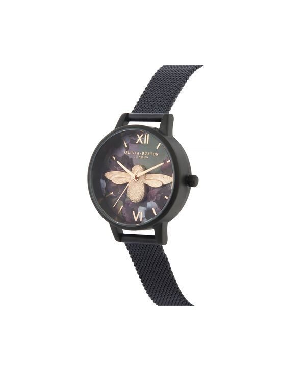 OLIVIA BURTON LONDON After Dark 3D Bee Midi Dial WatchOB16AD39 – Midi Dial in black and Black & Rose Gold - Side view
