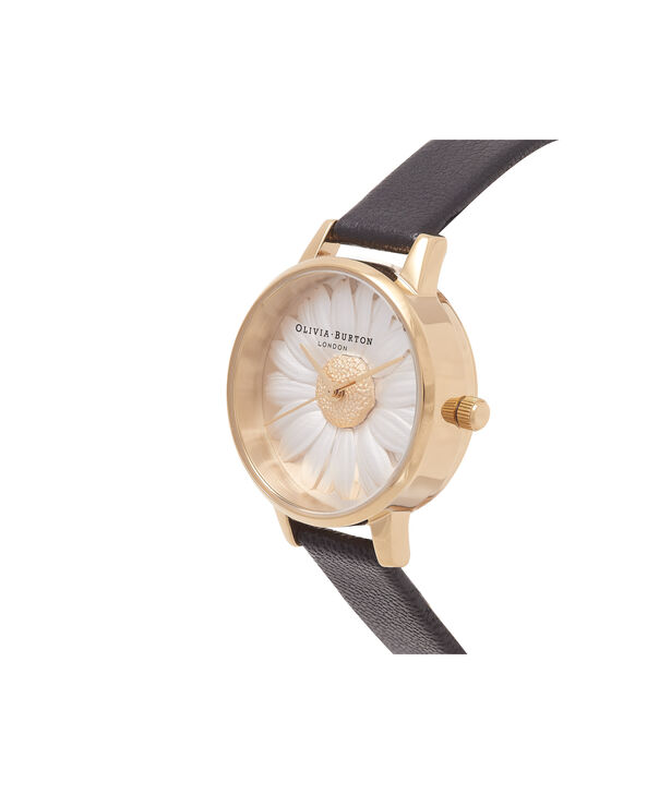 OLIVIA BURTON LONDON  3D Daisy Black & Gold Watch OB15EG38 – Midi Dial Round in White and Black - Side view