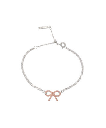 OLIVIA BURTON LONDON  Vintage Bow Chain Bracelet Silver and Rose Gold OBJ16VBB04 – Vintage Bow Chain Bracelet - Front view
