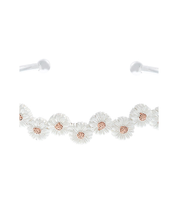 OLIVIA BURTON LONDON  Daisy Open Ended Bangle Silver & Rose Gold OBJ16DAB11 – 3D Daisy Bangle - Side view