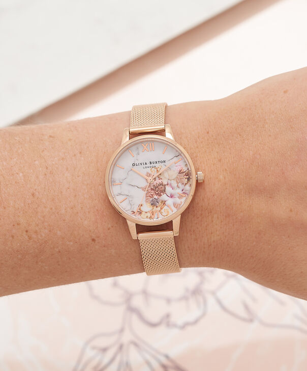 1f79af645333 ... OLIVIA BURTON LONDON Abstract Florals Rose Gold Mesh Watch OB16VM11 –  Midi Dial in White and