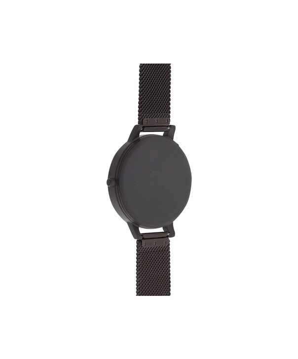 OLIVIA BURTON LONDON  After Dark Marble Floral Ip Black Mesh Watch OB16AD21 – Big Dial Round in Floral and Black - Back view