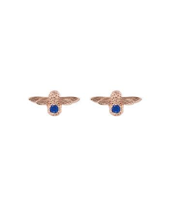 OLIVIA BURTON LONDON  3D Bee Stud Earrings Rose Gold with Lapis Lazuli Gemstone OBJ16AME27 – 3D Bee Bejewelled Stud Earrings - Front view