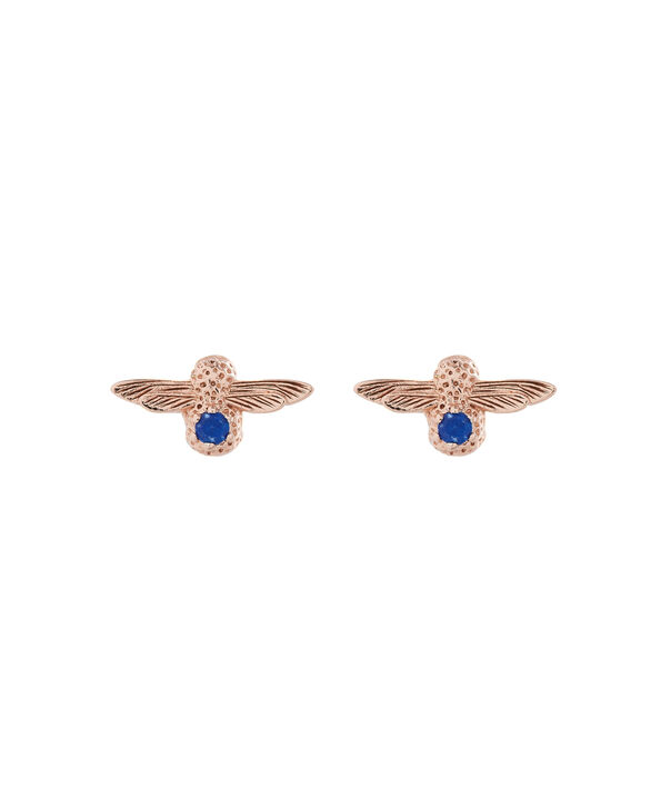 OLIVIA BURTON LONDON  3D Bee Stud Earrings Rose Gold with Lapis Lazuli Gemstone OBJ16AME27 – 3D Bee Bejewelled Stud Earrings - Front view