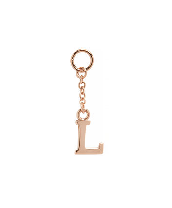 OLIVIA BURTON LONDON  L Alphabet Huggie Charm Rose Gold OBJ16HCRGL – Charms - Front view