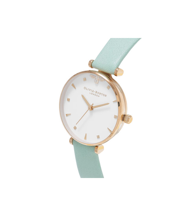 OLIVIA BURTON LONDON Queen Bee Mint Green & Rose Gold WatchOB16AM143 – Midi Dial Round in White and Mint Green - Side view