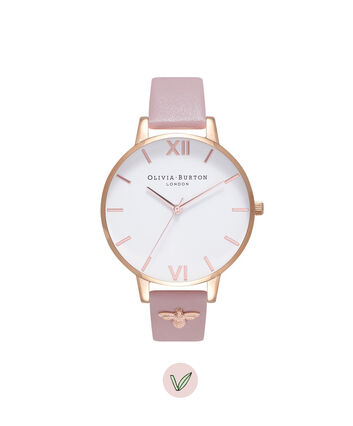 OLIVIA BURTON LONDON Vegan FriendlyOB16ES15 – Big Dial Round in White and Rose Gold - Front view