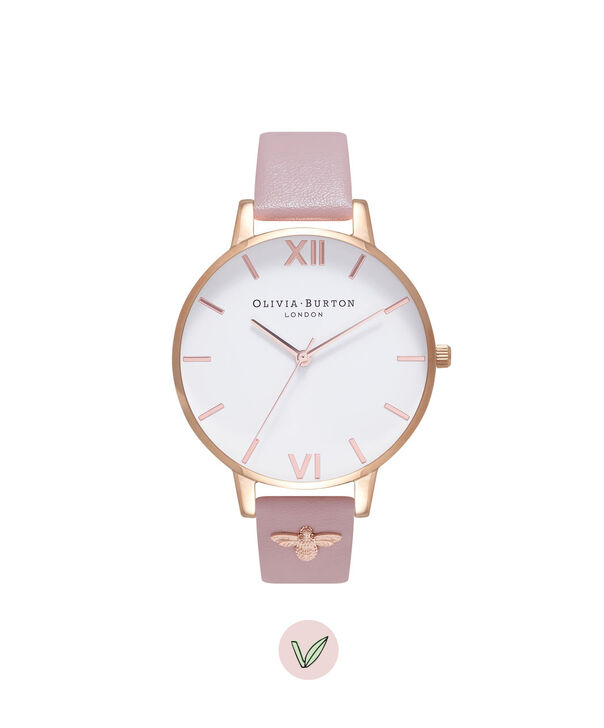 Ladies 3D Bee Embellished Strap Soft Rose & Rose Gold Watch | Olivia Burton London