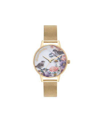 OLIVIA BURTON LONDON  English Garden Gold Mesh Watch OB16ER12 – Midi Dial Round in White and Gold - Front view