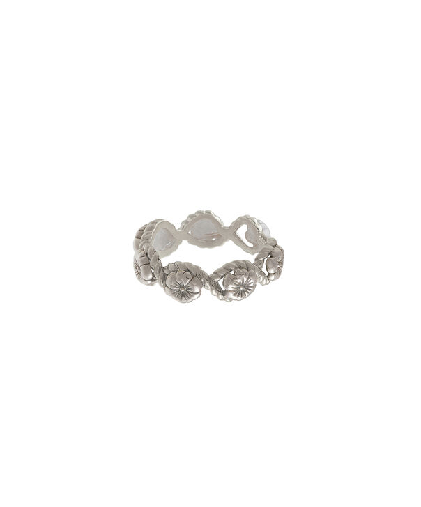 OLIVIA BURTON LONDON  Floral Charm Rope Ring Silver OBJ16FSR06 – Floral Charm Ring - Front view