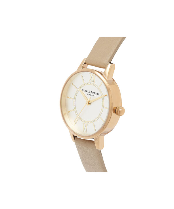 OLIVIA BURTON LONDON  Wonderland Sand, Silver & Gold OB16WD81 – Midi Dial Round in Gold and Sand - Side view