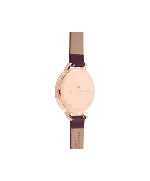 OLIVIA BURTON LONDON  Burgundy & Rose Gold Watch OB16BD106 – Big Dial in Chocolate and Burgundy - Back view