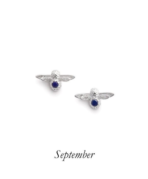 OLIVIA BURTON LONDON Celebration Bee Studs Silver & LapisOBJAME103 – Celebration Bee Studs Silver & Lapis - Front view