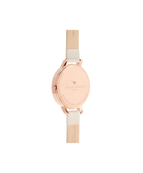 OLIVIA BURTON LONDON  Lace Detail Nude & Rose Gold Watch OB16MV80 – Big Dial Round in Rose Gold and Nude - Back view