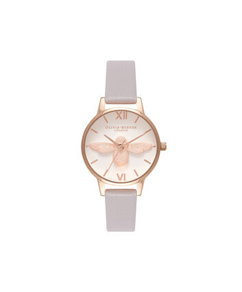 OLIVIA BURTON LONDON  3D Bee White Dial & Rose Gold Watch OB16AM106 – Midi Dial Round in White and Grey Lilac - Front view