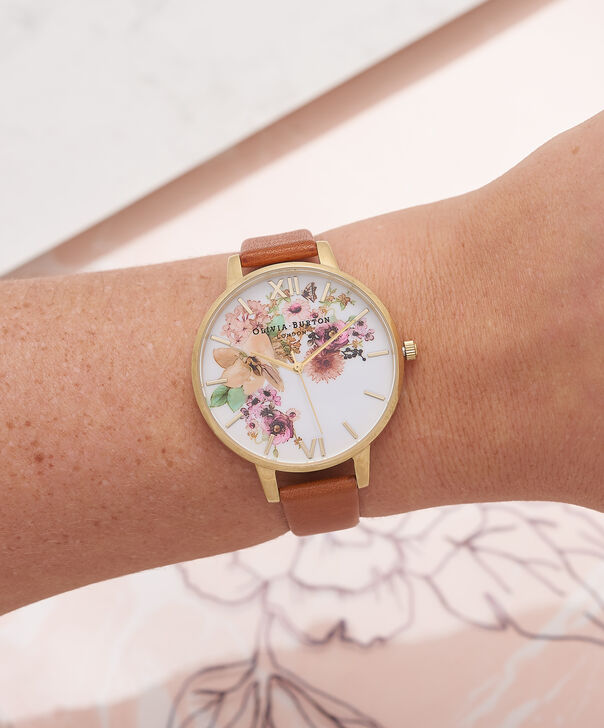 OLIVIA BURTON LONDON  Painterly Prints Tan & Gold Watch OB14FS02 – Big Dial Round in Tan and Rose Gold - Other view