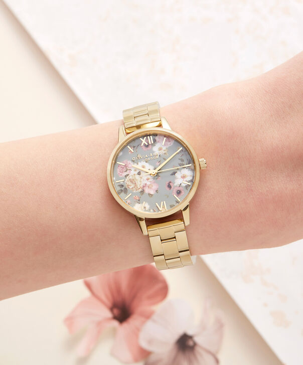 OLIVIA BURTON LONDON  Winter Garden Big Dial Grey & Gold Watch OB16EG95 – Big Dial in Grey Floral and Gold - Other view