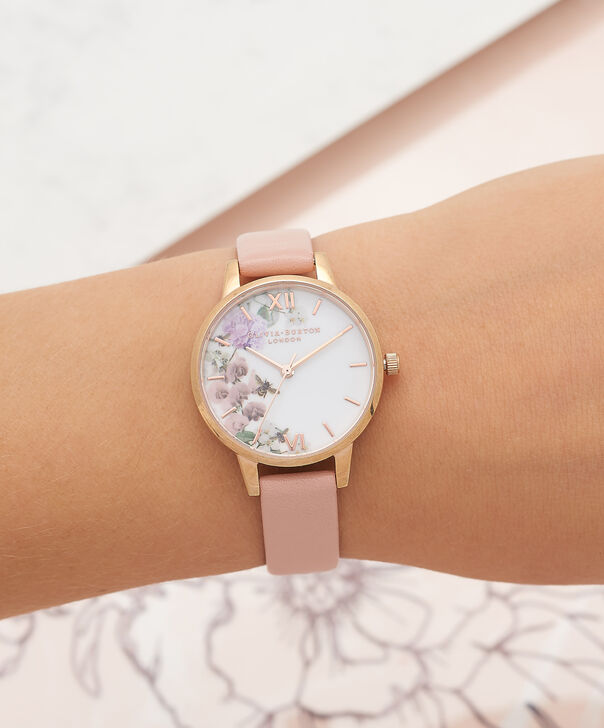 OLIVIA BURTON LONDON  Enchanted Garden Dusty Pink & Rose Gold Watch OB16EG56 – Midi Dial in White Floral and Pink - Other view
