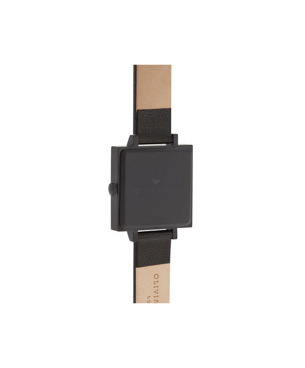 OLIVIA BURTON LONDON  After Dark Floral Big Square Dial Matte Black & Rose Gold Watch OB16AD17 – Big Dial Square in Floral and Black - Back view