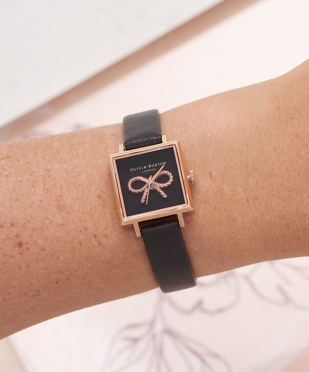 OLIVIA BURTON LONDON Vintage Bow Black & Rose Gold Watch OB16VB03 – Midi Dial Square in Black - Other view