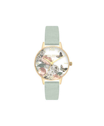 OLIVIA BURTON LONDON  Signature Florals Sage & Gold OB16WG50 – Midi Dial Round in Gold - Front view