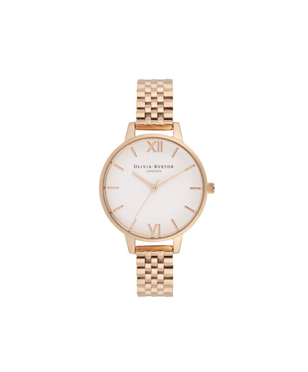 OLIVIA BURTON LONDON White Dial Demi Dial WatchOB16DEW01 – Demi Dial in rose gold and Rose Gold - Front view