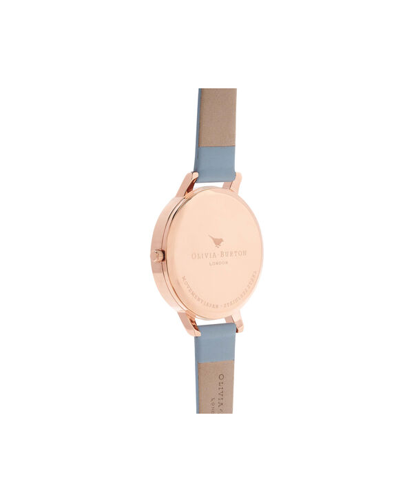 OLIVIA BURTON LONDON  Big Dial Blue & Rose Gold Watch OB16BDW18 – Big Dial Round in White and Chalk Blue - Back view