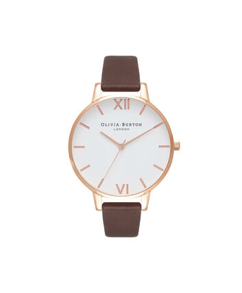 OLIVIA BURTON LONDON  White Dial Chocolate & Rose Gold Watch OB16BDW32 – Big Dial in Rose Gold and Chocolate - Front view