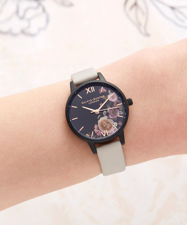 OLIVIA BURTON LONDON  After Dark Marble Floral Black & Rose Gold Watch OB16AD30 – Midi Round in Dark Floral and Rose Gold - Other view