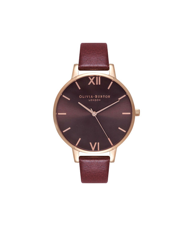 OLIVIA BURTON LONDON  Burgundy & Rose Gold Watch OB16BD106 – Big Dial in Chocolate and Burgundy - Front view