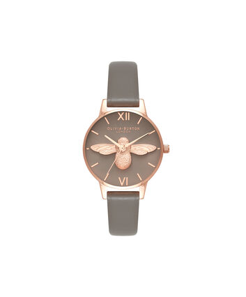 OLIVIA BURTON LONDON  3D Bee London Grey & Rose Gold OB16AM148 – Midi Dial Round in Grey and Rose Gold - Front view