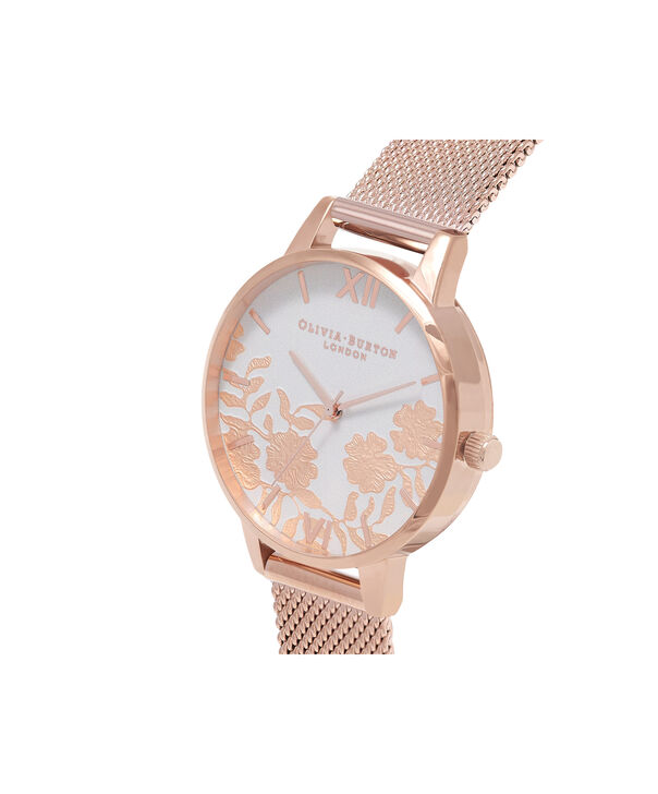OLIVIA BURTON LONDON  Lace Detail Blush & Rose Gold Mesh Watch OB16MV79 – Big Dial Round in Blush and Rose Gold - Side view