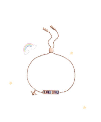 OLIVIA BURTON LONDON Rainbow Bee Baguette Bar Bracelet Rose GoldOBJAMB77 – Bracelet in Rose Gold - Front view