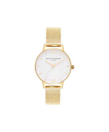 OLIVIA BURTON LONDON White DialOB16MDW35 – Midi Dial in White and Gold - Front view
