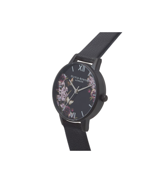 OLIVIA BURTON LONDON  After Dark Black & Ip Black Watch OB16AD22 – Midi Dial Round in Floral and Black - Side view