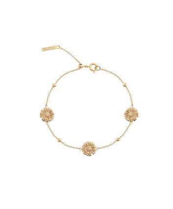 OLIVIA BURTON LONDON  Daisy Chain Bracelet Gold OBJ16DAB06 – 3D Daisy Chain Bracelet - Front view