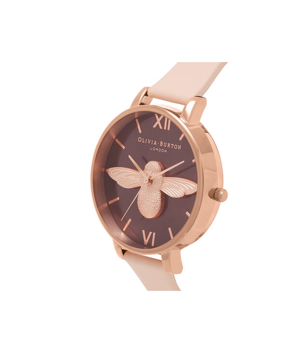 OLIVIA BURTON LONDON  3D Bee Nude Peach & Rose Gold Watch OB16AM99 – Big Dial in Chocolate and Peach - Side view