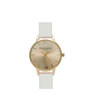 OLIVIA BURTON LONDON Sunray DialOB16MD74 – Midi Dial Round in Gold and Blush - Front view