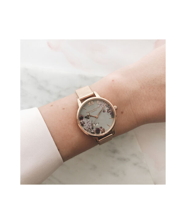 OLIVIA BURTON LONDON Blooms & Butterflies Grey Dial And Rose Gold MeshOB16EX108 – Midi Dial In Rose Gold And Rose Gold - Other view