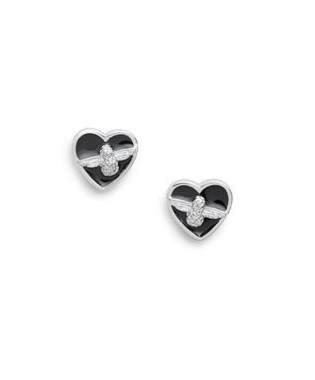 OLIVIA BURTON LONDON Love Bug Studs Black & SilverOBJLHE20 – SHOPBAG_LABEL - Front view